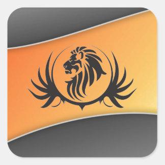 Lionshead en fondo curvado naranja calcomanía cuadradase