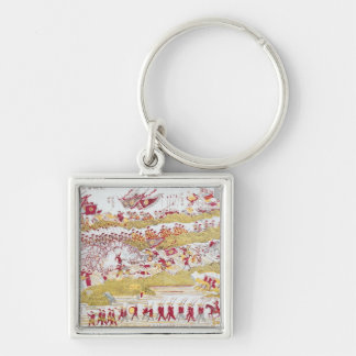 Liou Repelling the French at Bach Ninh Silver-Colored Square Keychain