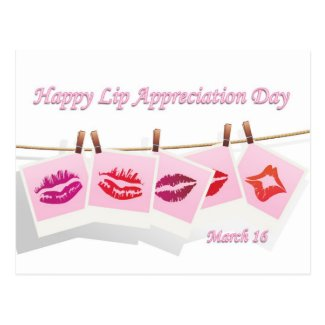 Lip Appreciation Day March 16 Postcard
