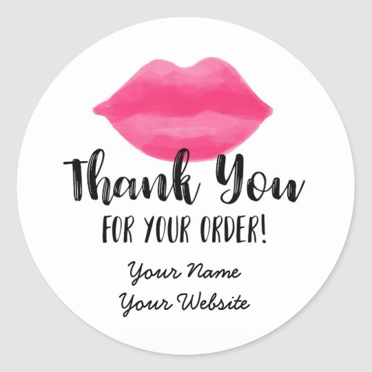 Lip business thank you stickers lips lipstick classic round sticker
