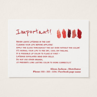Lip color distributor application instructions business card
