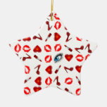 Lip Kiss Chic Double-Sided Star Ceramic Christmas Ornament