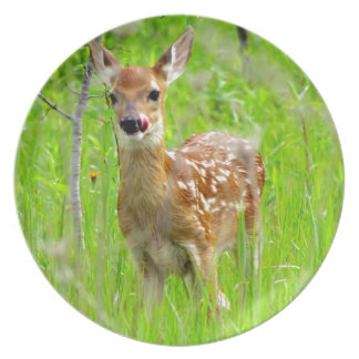 Lip Licking Fawn Melamine Plate