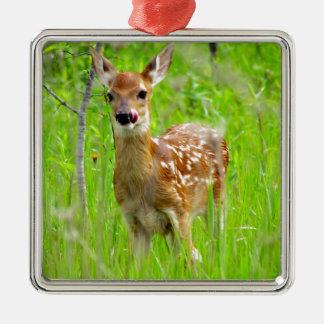 Lip Licking Fawn Metal Ornament