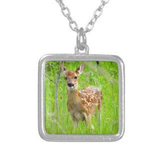 Lip licking fawn square pendant necklace