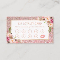 Lip Loyalty Card | Pink Floral Rose Gold Glitters