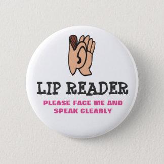 Lip Reader Pinback Button