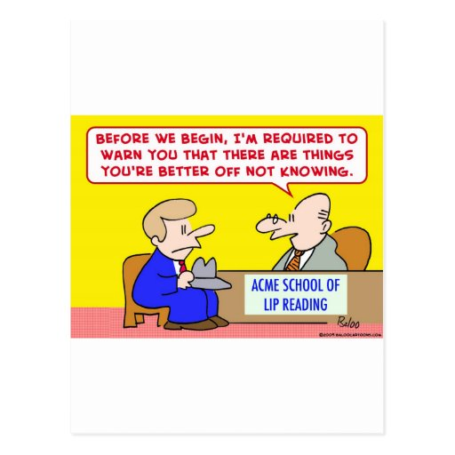 lip reading school postcard