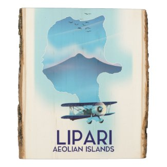 Lipari Aeolian Islands map Wood Panel