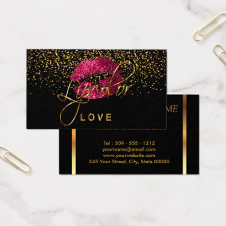 Lipcolor Love with Gold Confetti & Hot Pink Lips Business Card