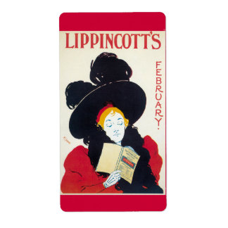 Lippincott's February Art Nouveau Advertisement Label