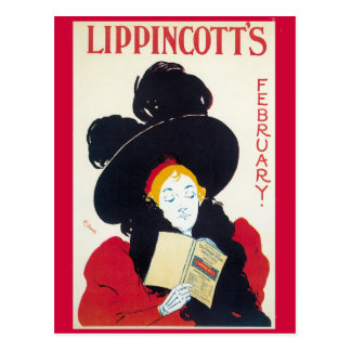 Lippincott's February Art Nouveau Advertisement Postcard