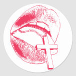 LIPS and CROSS Round Sticker