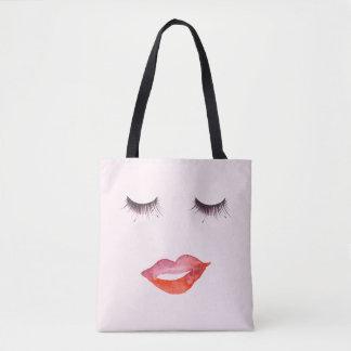 Lips and Eyelashes Tote Bag