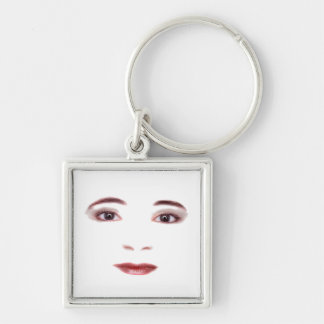 Lips and Eyes Silver-Colored Square Keychain