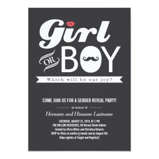 Lips and Mustache Baby Gender Reveal Party Invite Invitation