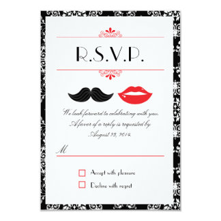Lips and Mustache Damask Wedding RSVP 3.5x5 Paper Invitation Card