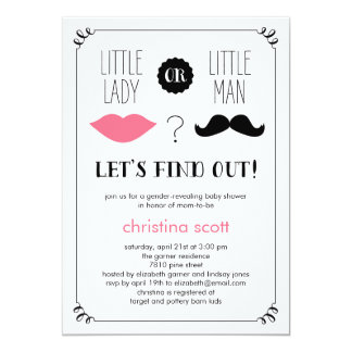 "Lips and Mustache Gender Reveal Baby Shower Invite 5"" X 7"" Invitation Card"