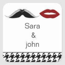 lips and mustache houndstooth envelope seal