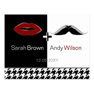 lips and mustache houndstooth save the date cards