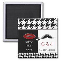 lips and mustache houndstooth save the date magnet