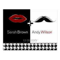 lips and mustache houndstooth thank you cards