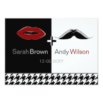 lips and mustache houndstooth wedding Invites