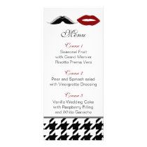 lips and mustache houndstooth wedding menu
