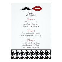 lips and mustache houndstooth wedding menu card