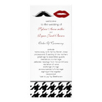 lips and mustache houndstooth wedding program