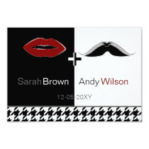 lips and mustache houndstooth wedding rsvp 3.5x5 card