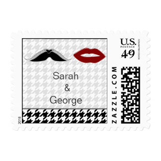 lips and mustache houndstooth wedding stamps