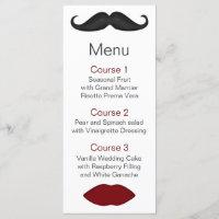 lips and mustache mod wedding menu