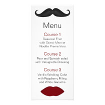 lips and mustache mod wedding menu