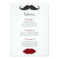 lips and mustache mod wedding menu card