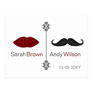 lips and mustache mod wedding save the date cards