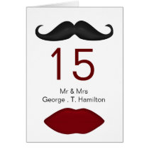 lips and mustache mod  wedding table seating card