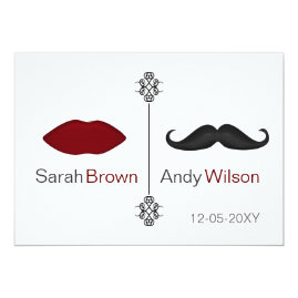 Red Lips and Mustache Wedding Invitations