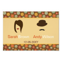 lips and mustache retro floral  rsvp 3.5 x 5 card