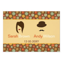 lips and mustache retro floral  wedding Invites
