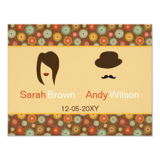 lips and mustache retro floral  wedding rsvp card