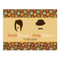lips and mustache retro floral  wedding rsvp postcard