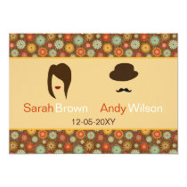 lips and mustache retro floral  wedding thank you card