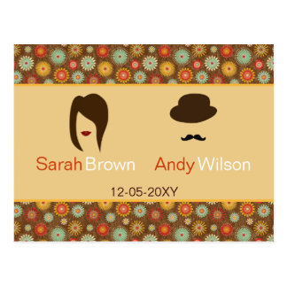lips and mustache retro floral  wedding thank you postcard