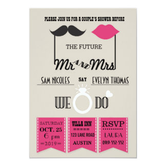 Lips and Mustache Typography Chic Wedding Shower Card