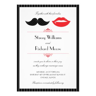 Lips and Mustache Wedding Invitation