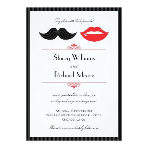 """Lips and Mustache Wedding Invitation 5"""" X 7"""" Invitation Card"""