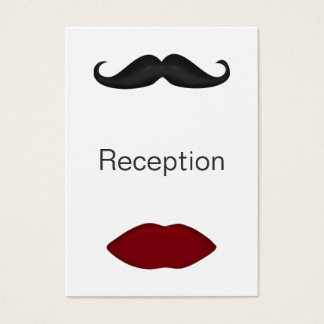 lips and mustache wedding reception cards