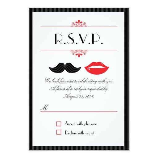 Lips and Mustache Wedding RSVP 3.5x5 Paper Invitation Card