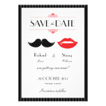 Lips and Mustache Wedding Save the Date Personalized Announcement